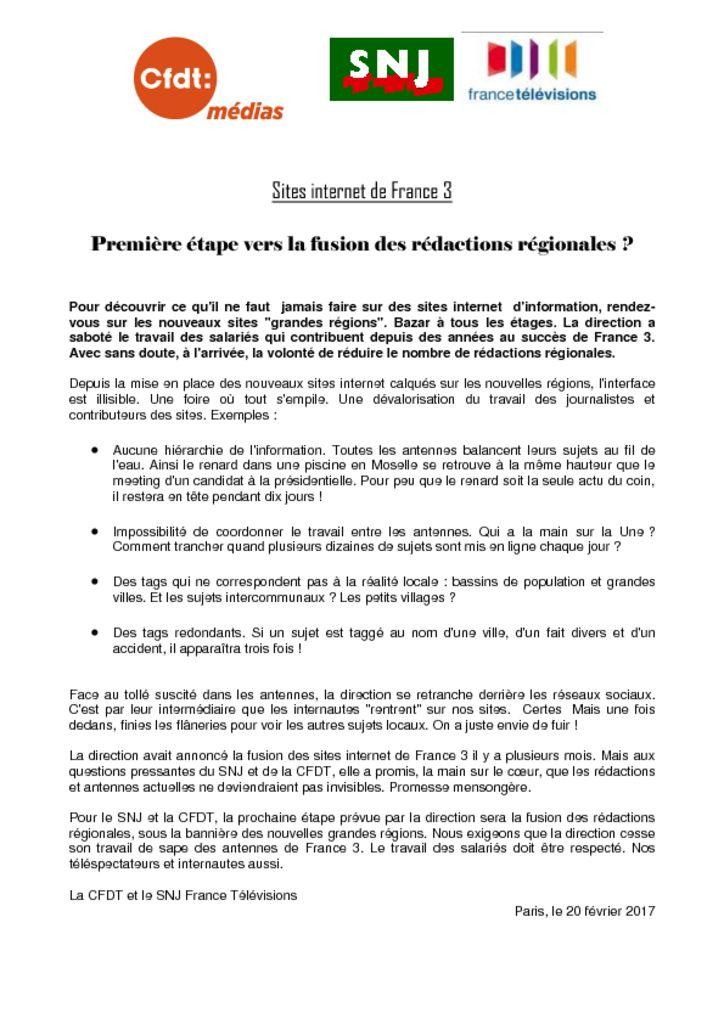 thumbnail of Première étape vers la fusion des rédactions régionales (2)
